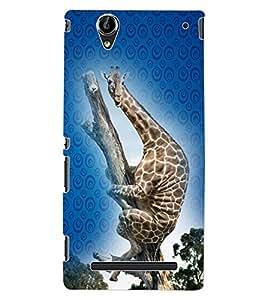 ColourCraft Funny Giraffe Design Back Case Cover for SONY XPERIA T2 ULTRA DUAL D5322