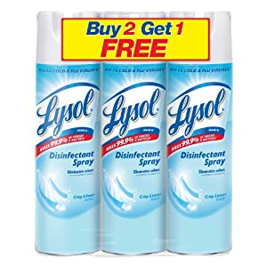 Lysol Disinfectant Spray, Crisp Linen, 19 Ounce, 3 Count