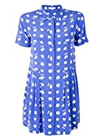 Equipment Naomi Dress in Nautical Blue/Bright White