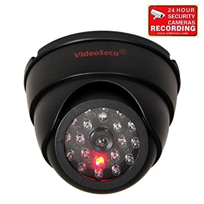 VideoSecu Dome Surveillance Security Dummy Imitation Camera Fake Security Camera Simulated Infrared IR LED Fake Camera with Blinking Light CCTV Surveillance,Security Warning Sticker AA3