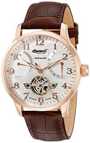Ingersoll Unisex Automatic Watch with White Dial Analogue Display and Brown Leather Strap IN6910RSL
