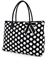 Belvah Extra Large Quilted Polka Dots Tote Handbag