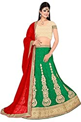 Pushty Fashion Green and Red Embroidered net Lehnga