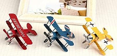 URAQT 3 Pcs Vintage Airplane Model Metal Handicraft, Wrought Iron Aircraft Biplane, for Photo Props/Christmas/Home Decor/Ornament