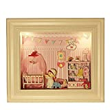 Sunfod® Baby bedroom diy miniature dollhouse voice activated lights hung on the wall wooden doll house for decoration