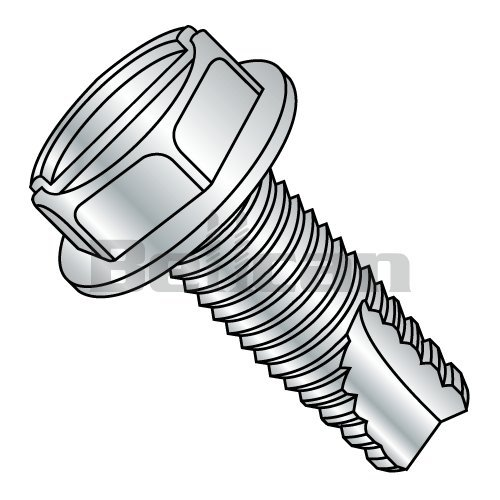 Type F Steel Thread Cutting Screw Zinc Plated Finish 5//16-18 Thread Size 1-3//4 Length Hex Washer Head Pack of 10 Slotted Drive Pack of 10 5//16-18 Thread Size 1-3//4 Length Small Parts 3128FSW