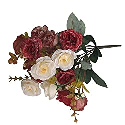 Imported Artificial 18-Head Roses Flowers Bouquet Wedding Decor 4 Colors - wine red, 12 IN