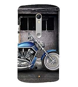 Fantastic Blue Bike 3D Hard Polycarbonate Designer Back Case Cover for Motoroal Moto X Style