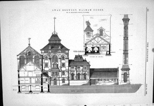 old-original-antique-victorian-print-1883-swan-brewery-walham-green-bradford-beer-cellar-architectur