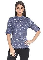 The Cotton Company Women's Shirt (Shirts002_F_BlueFlower_ChineseCollar_L_Aegean Blue_Large)