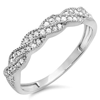 0.25 Carat (ctw) 14k White Gold Round Diamond Ladies Anniversary Wedding Stackable Band Swirl Ring 1/4 CT (Size 6)