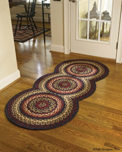 Folk Art Style Braided Rug Runner,