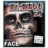 Skeleton Death Skull Full Face Temporary Tattoo Kit - Set of 2