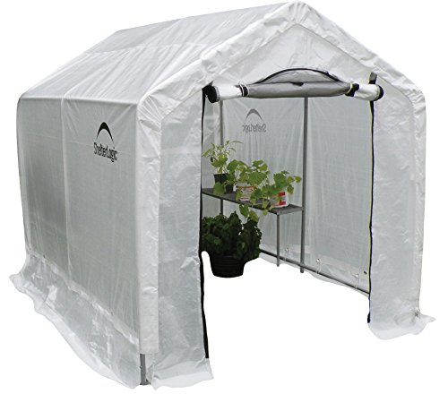 ShelterLogic 70600 Peak Style Backyard Greenhouse with Integrated Shelving, 6 by 8 by 6-Feet photo