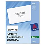 Avery Self-Adhesive Address Labels for Copiers, 1-1/2 x 2-13/16, White, 2100 per Box (Pack of 2)