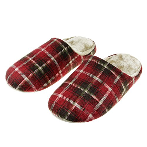 Mens Womens Couple Plaid Soft Cozy Cotton Thermal Household Slippers Winter Warm Faux Fur Fleece Scuff Mules Waterproof Leather Anti-skid Sole Home Indoor Slip-on Shoes (Summer Household Slippers compare prices)