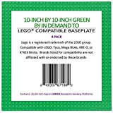"Brick Building Base Plates By In Demand Toys - Large 10""x10"" Baseplates (4 Pack GREEN) - Tight Fit With Lego-compatible"