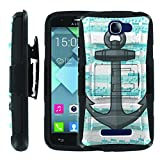 [ManiaGear] [COMBAT] Heavy Duty Combat Armor Dual Layer Design Image Case With Kickstand Belt Holster Case (Achor Music) for Alcatel OneTouch Fierce 2 7040T / Pop Icon A564C
