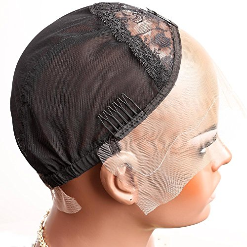 Bella Hair Professional Lace Front Wig Caps for Making Wig with Adjustable Straps and Combs Swiss Lace Black Medium Size (Adjustable Wig Cap compare prices)