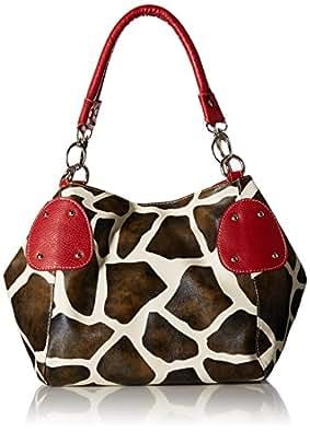 Red Large Vicky Giraffe Print Faux Leather Satchel Bag Handbag Purse