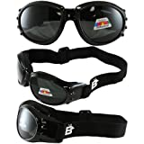 Birdz Eyewear Eagle Motorcycle Goggles (Black Frame/Polarised Smoke Lens)