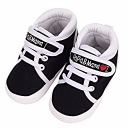 Voberry® Baby Infant Kid Boy Girl Soft Sole Canvas Sneaker Toddler Shoes (0~6 Month, Black)