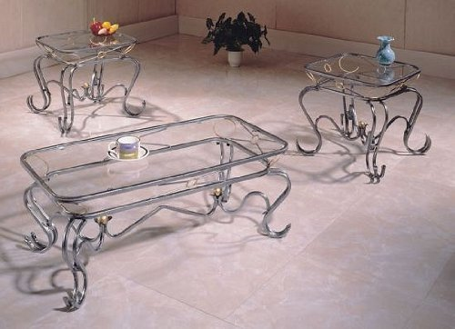 Buy Low Price Matrix Coffee Table Set Wrought Iron With 8mm Beveled Glass Vf F3046 Coffee