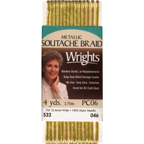 Buy Cheap Wrights 117-532-046 Metallic Soutache Braid Trim, Gold, 4-Yard