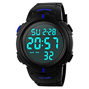 Classical Men's Fashion Water-resistance Watches Casual Diving Watch Students Watches Boys Girls Outdoor Sports Watches Christmas Gift Watch (Blue)
