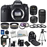 Canon EOS 60D DSLR Camera Kit with 3 Canon lenses: Featuring 18-55mm f/3.5-5.6 IS II + 50mm f/1.8 II + 75-300mm f/4.0-5.6 III Autofocus Lenses. Also Includes: 0.43x Wide Angle & Telephoto HD Lenses, 3 Piece Filter Kit & 4 Piece Macro Lens Kit & More!