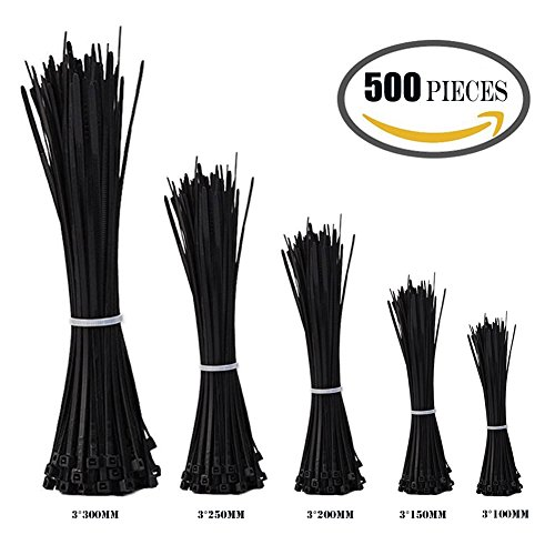 ZesGood Nylon Cable Zip Ties, 4 6 8 10 12 Inches, 500 Pieces, Perfect for Home / Office / Garage / Workshop (10 Zip Ties compare prices)
