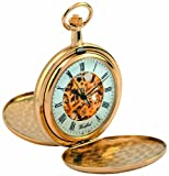 Woodford Skeleton Full-Hunter Pocket Watch, 1038, Men's Gold-Plated Twin-Lidded  with Chain (Suitable for Engraving)