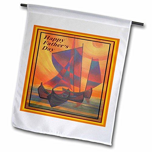 Taiche - Fathers Day - Sail Boat - Happy Fathers Day- father, fathers day, sailboat, sails, seascape, semi abstract, boat - 18 x 27 inch Garden Flag (fl_48464_2)
