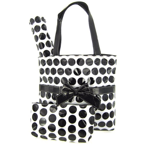 Retro Large Polka Dot Laminated Diaper Bag Tote Purse 3 Piece Set (black/white) - 1