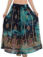 Skirts 'N Scarves Women's Rayon Hand Beaded Sequin Tie Dye Long Skirt