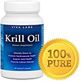 Viva Labs Krill Oil - 100% Pure Cold Pressed Antarctic Krill Oil. Highest Levels of DHA, EPA and Astaxanthin in the Industry - 1250 mg/per serving, 60 Capsules