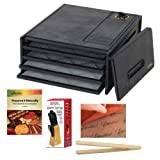 Excalibur Dehydrators 4 Tray Economy Dehydrator + Preserve It Naturally Book + Paraflexx Premium Sheets 11X11 + Knife Set 7PC with Pine Block + Bamboo Toast Tong - 6.5 Inch Long