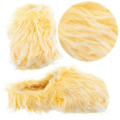 Image of Yellow Fuzzy Slippers for Women (B0077QTO6G)