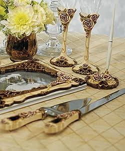 Elegant Vintage Rose Wedding Cake Serving Set by Weddingstar Inc.
