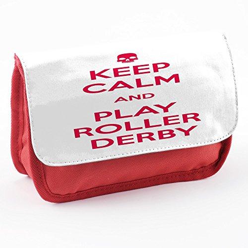 Keep Calm 10054, Keep Calm And Play Roller Derby, Rosso Scuola Bambini Sublimazione di alta qualità Polyester Astuccio Matita Caso con Design Colorato.21x12 cm.