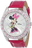 Disney Women's MN1010 Minnie Mouse Silver Sunray Dial Pink Lizard Watch