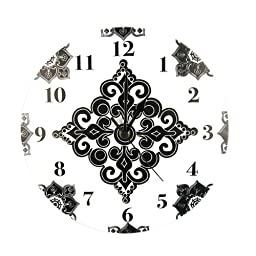 Trend Lab Kids Baby Nursery Damask Printed Versailles Black And White Wall Clock