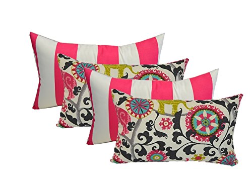 Set of 4 Indoor Decorative Lumbar / Rectangle Pillows - 2 Preppy Pink and White Stripe & 2 Pink, Green, Gray Turquoise Bohemian Elephant