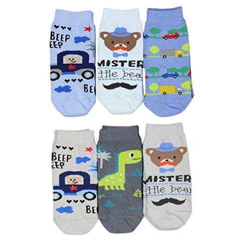 Baby Socken Jungen Baumwolle Mädchen Söckchen mit Muster Kindersocken im 6er Pack Bunt Sortiert, Farbe: Junge, Größe: 16-18