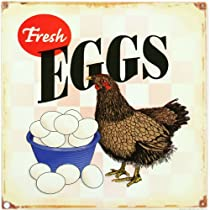 Fresh Eggs Hen Chicken Distressed Retro Vintage Tin Sign