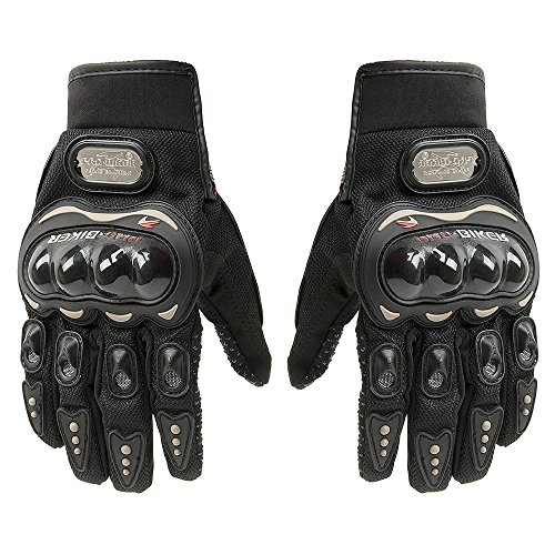 Carbon Fiber Motorcycle Motorbike Cycling Racing Full Finger Gloves Tonsiki (Black, L)
