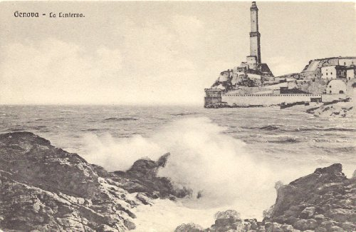 1910 Vintage Postcard Lighthouse La Lanterna