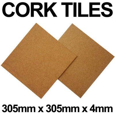 CORK TILE 100 FLOOR TILES 1ft x 1ft & 4mm FREE P&P