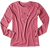 Life is good Womens Crusher Long Sleeve Foliage LIG T-Shirt (Azalea Pink)