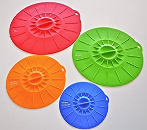 Silicone Suction Lids Premium - (4 Sizes) Reusable Food Saver Covers For Bowls, Pots, Pans - Replaces Plastic Wrap - Stove-Top, Microwave, Freezer, Dishwasher Safe - FDA Approved Eco-Friendly Kitchen Accessories